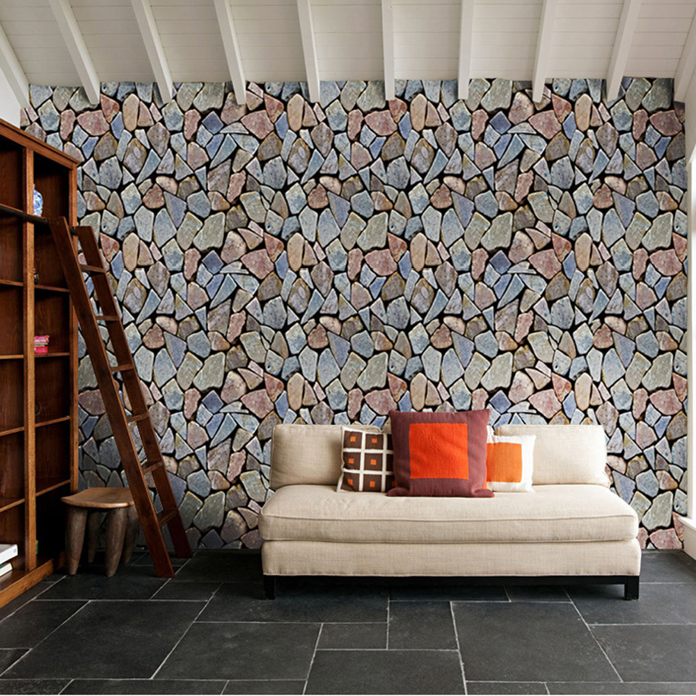 3D Stone Ladder Pattern Self-adhesive Living Room Door Mural Sticker Wallpaper
