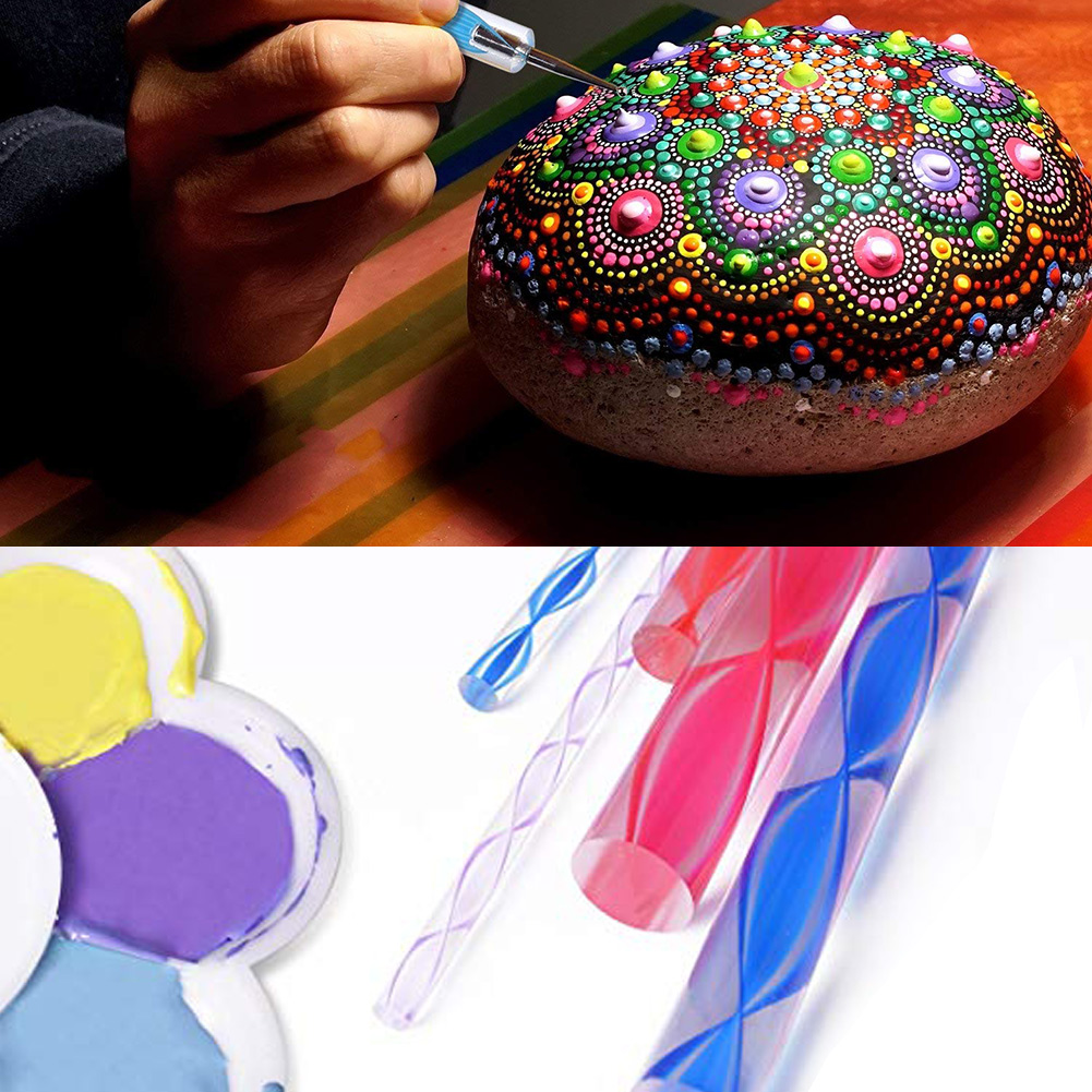 Paint Tray,Brush and Modeling Tools for Kids Crafts LAMPTOP Mandala Tools Dot Dotting Tools with Mandala Stencil Dotting Pens 25Pcs Mandala Dotting Tools for Painting Rocks