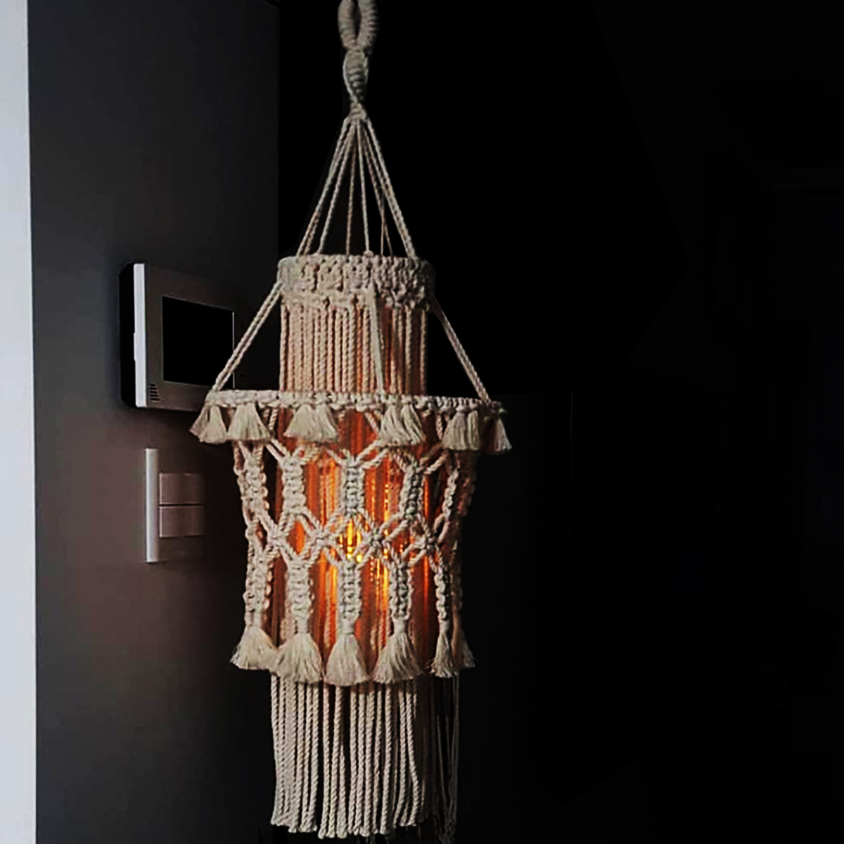Macrame Lampshade Ceiling Pendant Light Shade Cover Boho Wedding Hanging Decor Ebay